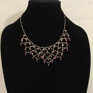 Silver mesh necklace w/pink